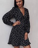 Женское лёгкое шифоновое платье на шнуровке