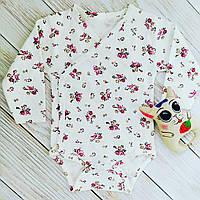 Детский бодик 62-74 см для девочки из белого хлопка с длинным рукавом и цветочками