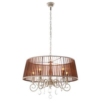 Подвесная люстра с коричневым абажуром (5 ламп) (FN003/5)