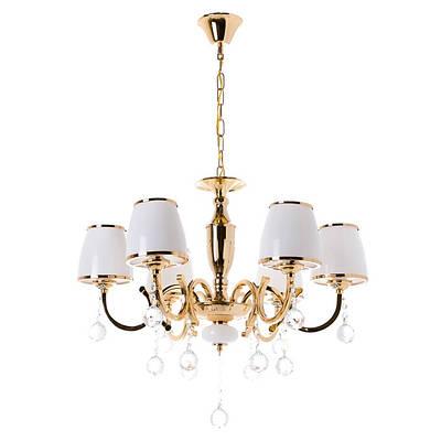 Люстра золотого цвета с белыми плафонами и кристаллами (6 ламп) (OU006/6/gold)