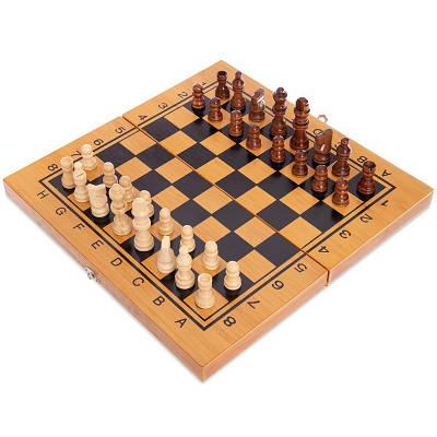 Шахматы, шашки, нарды 3в1 бамбуковые Zelart 341-162 Коричневый (MR08696)