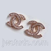 Серьги ХР гвоздики Chanel с  цирконием