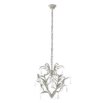 Люстра классическая белая с листочками и кристаллами 1 лампа (SM005)