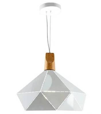 Люстра-подвес SLAVIA белая из металла и дерева 30*30 ZD038B/D300 white
