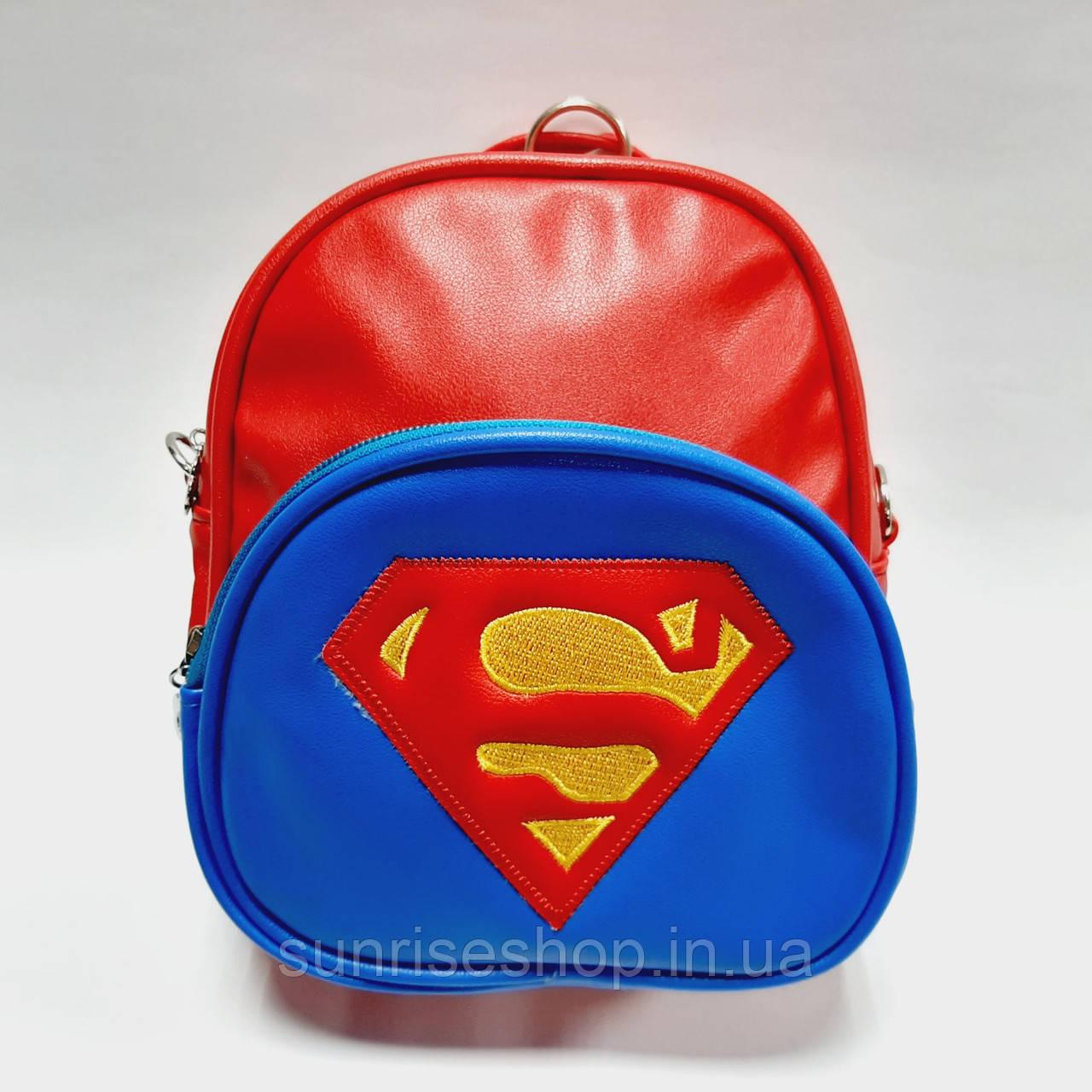 Рюкзак для мальчиков Супер Мен кожзаменитель красный
