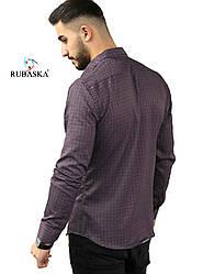 Чоловіча сорочка слім фіт на кнопках марсалового кольору з принтом S, M