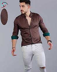 Легка сорочка коричневого кольору з зеленими манжетами S, M