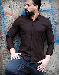 Сорочка звужений фасону матового темно-коричневого кольору L, XL