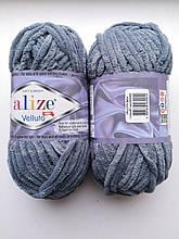 Пряжа Alize Веллуто Velluto (Ализе)  цвет 87 серый