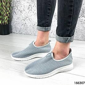 Жіночі кросівки сірі без шнурків з текстилю 1396017362