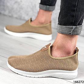 Женские кроссовки темно-бежевые без шнурков из текстиля