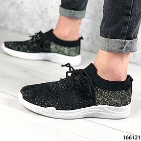 Женские кроссовки черные из текстиля