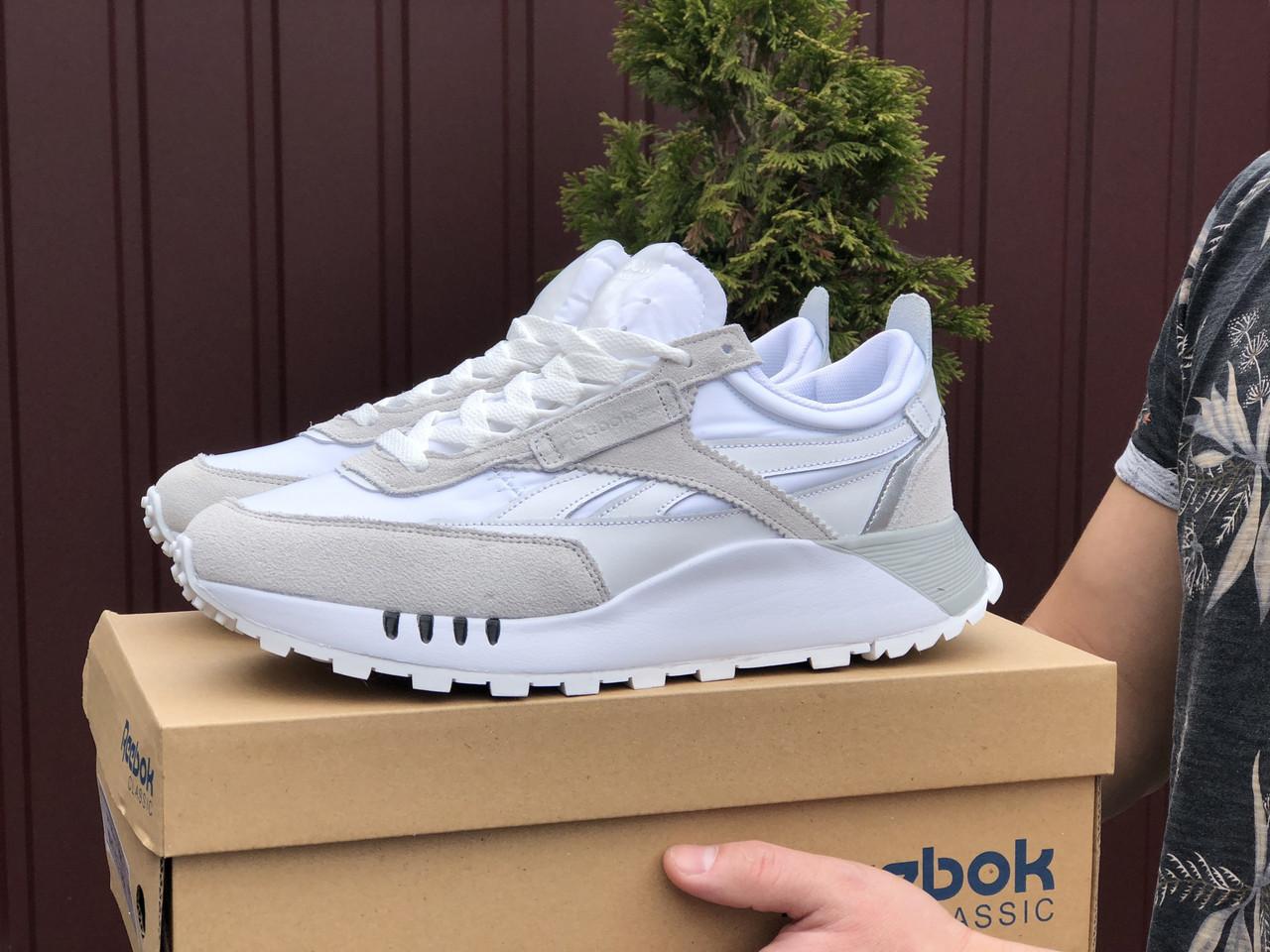 Чоловічі кросівки Reebok білі / замшеві кросівки Рібок (Топ репліка ААА+)