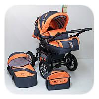 Детская Коляска трансформер для новорожденных Victoria Gold S Цвет Серо-Оранжевый