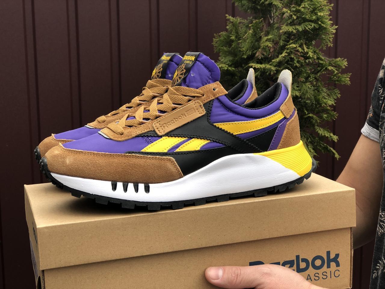 Мужские кроссовки Reebok коричневые / замшевые кроссовки Рибок (Топ реплика ААА+)