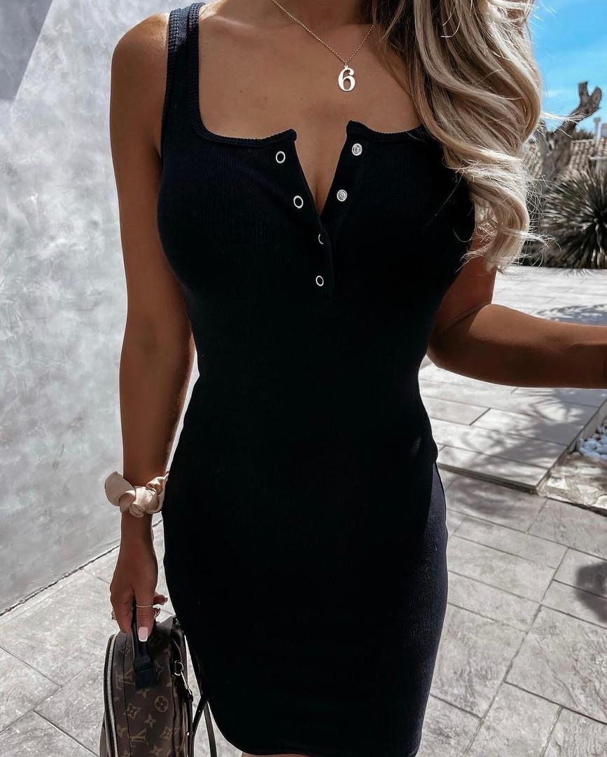 Женское платье, трикотаж - рубчик, р-р 42-44; 46-48 (чёрный)