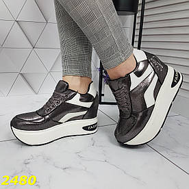 Кросівки снікерси на високій платформі з танкеткою графіт