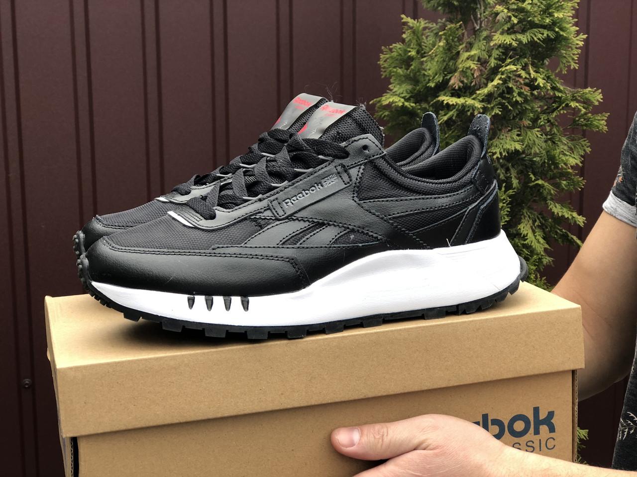 Мужские кроссовки Reebok черные / замшевые кроссовки Рибок (Топ реплика ААА+)