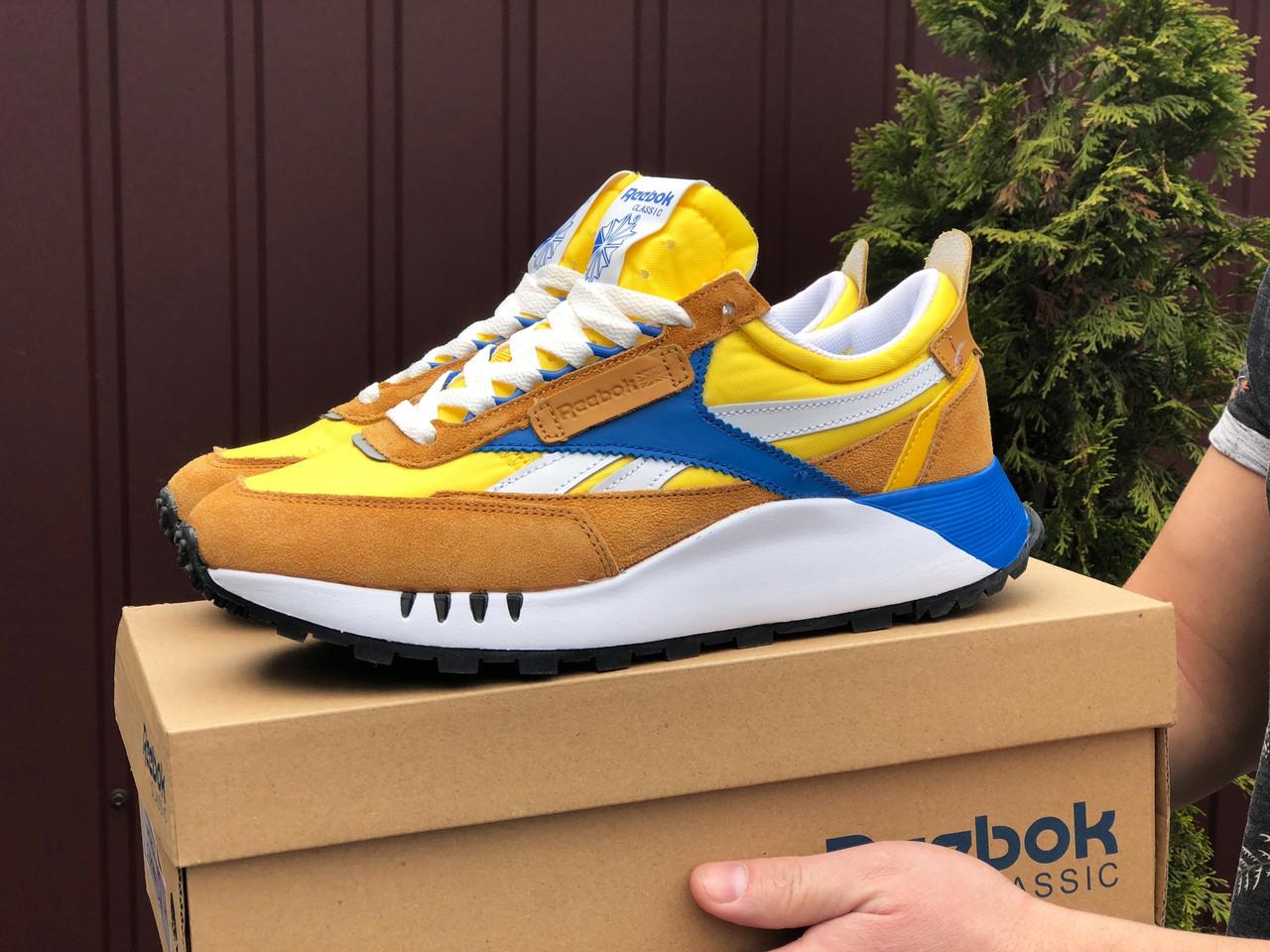 Мужские кроссовки Reebok желтые / замшевые кроссовки Рибок (Топ реплика ААА+)