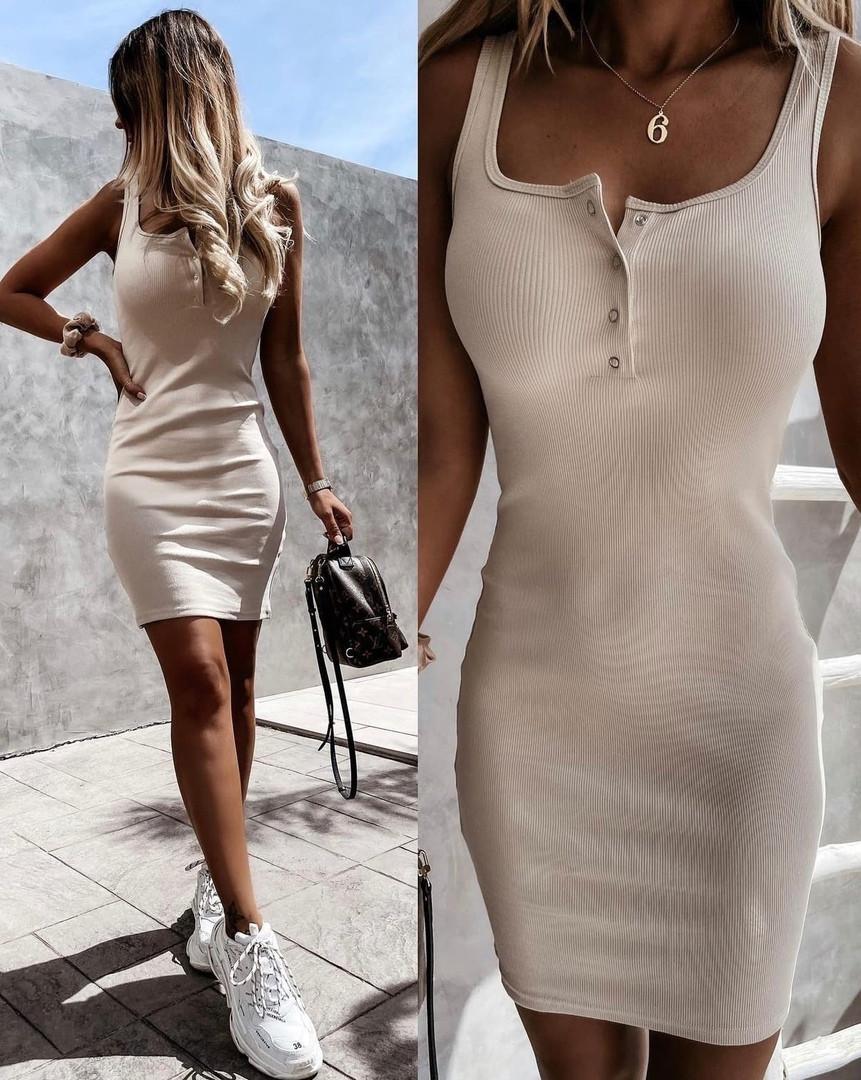 Женское платье, трикотаж - рубчик, р-р 42-44; 46-48 (бежевый)
