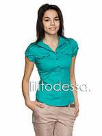 Рубашка короткий рукав бирюзовый, фото 1