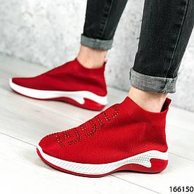 Женские кроссовки красные без шнурков из текстиля