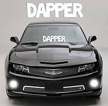 """Наклейка на стекло """"DAPPER"""" или любая надпись под заказ. Наклейки на стекло авто, на кузов, куда угодно.в"""
