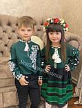 Вишиванка на хлопчика «Медальйон білий на зеленому», фото 3