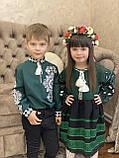 Вишиванка на хлопчика «Медальйон білий на зеленому», фото 2