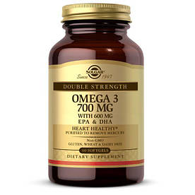 Жирные кислоты Solgar Double Strength Omega 3 700 mg, 60 капсул