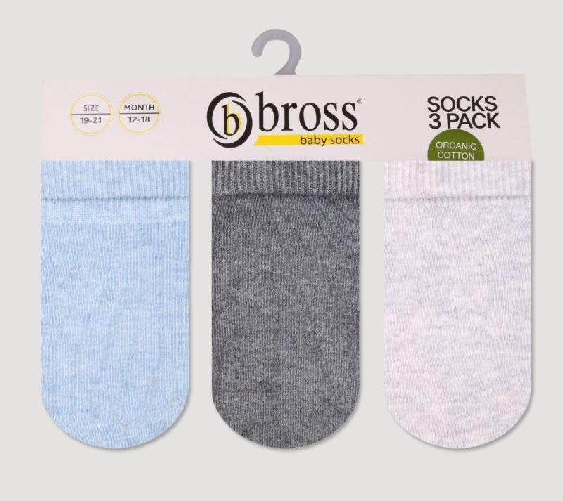 Набор 3 шт. Носки для грудничков демисезонные Bross из хлопка без рисунка