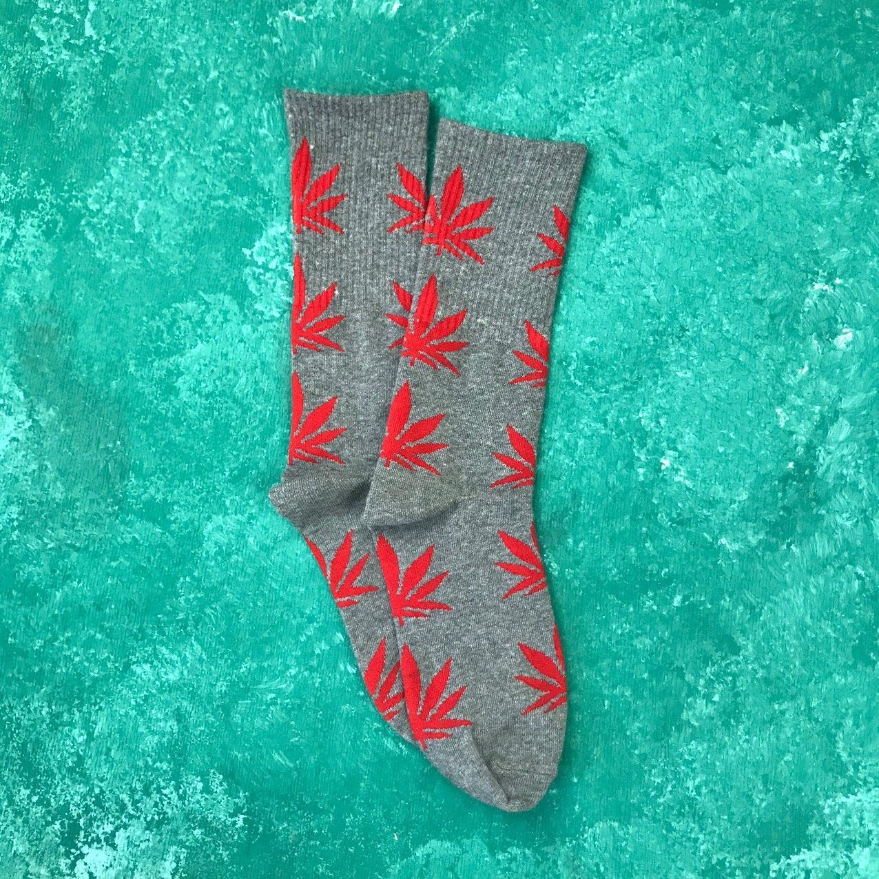 Носки Высокие Женские Мужские City-A HUF Plantlife Серые с Красным листом 37-43