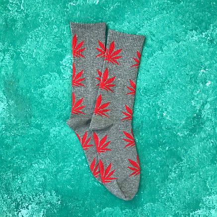 Носки Высокие Женские Мужские City-A HUF Plantlife Серые с Красным листом 37-43, фото 2
