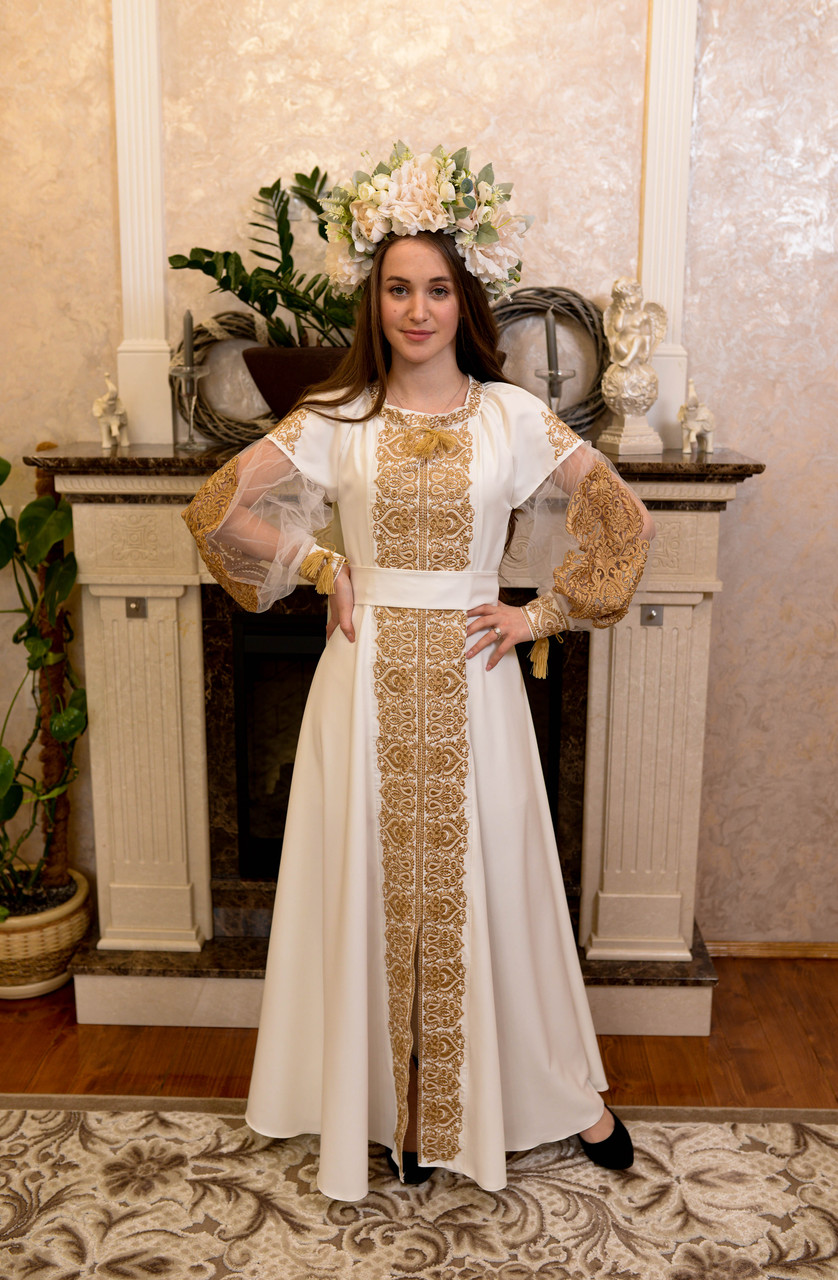 Золота вишита сукня «Графиня»