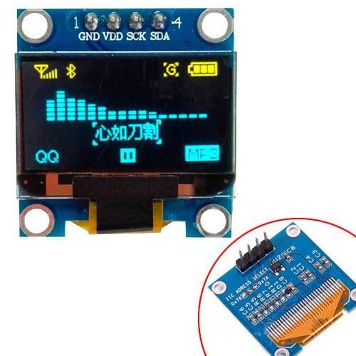 "OLED дисплей графический SSD1306 I2C 4p 0.96"" 128x64 Arduino, сине-желтый, 100704"