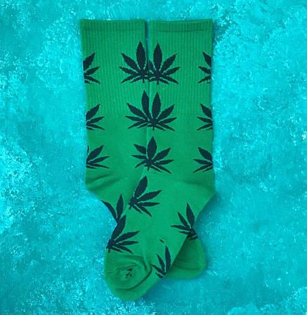 Носки Высокие Женские Мужские City-A HUF Plantlife Зеленые с Черным листом 37-43, фото 2