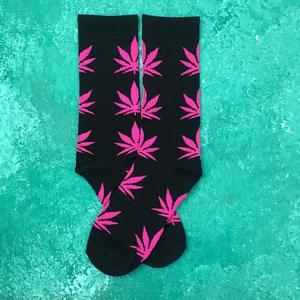 Носки Высокие Женские Мужские City-A HUF Plantlife Черные с Розовым листом 37-43, фото 2