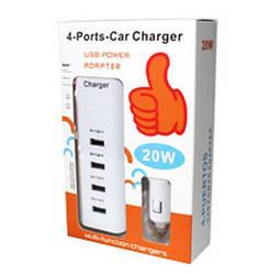 Зарядка автомобильная 4 Post Car Charger usb power adapter 12V 4 USB на 4 телефона