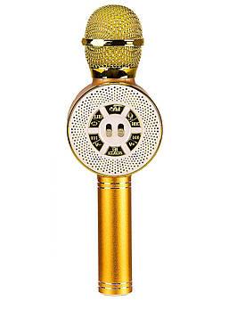 Светящийся микрофон караоке с динамиком M155_gold золото