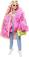Кукла Барби Экстра Модница блондинка в розовом пальто Barbie Extra Doll in Pink Fluffy Coat