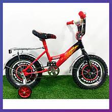"""Велосипед дитячий двоколісний з кошиком Mustang Тачки 14"""" зростання 90-115 см вік 3 до 6 років червоний"""