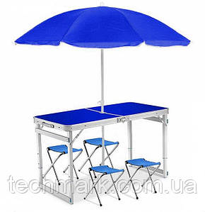 Стол усиленный раскладной для пикника с регулируемой высотой 4 стула, + зонт 170 см Синий ТМ