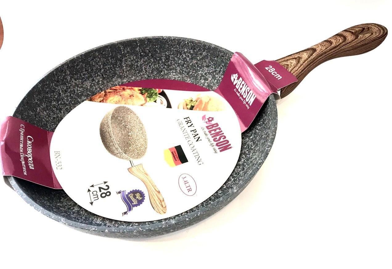 Сковорода Benson BN-532 (28 см) антипригарное гранитное покрытие, SOFT TOUCH   сковородка Бенсон, Бэнсон
