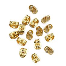 Металлические заглушки для пусет 6х4,5 мм из нержавеющей стали цвет золото для рукоделия