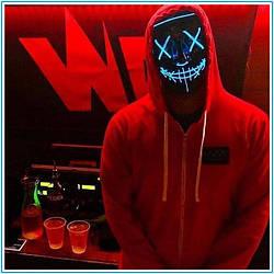 """Світиться неонова LED маска """"Судно ніч"""" синя   лід маска для вечірок світиться неоном в темряві"""