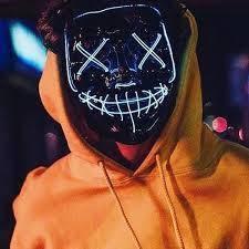 """Світиться неонова LED маска """"Судно ніч"""" зелена   лід маска для вечірок світиться неоном в темряві"""