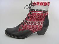 Этно-обувь, ботинки женские «Народные» декор с черной кожей