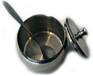 Сахарница с ложкой и крышкой из нержавеющей стали Benson BN-627 (8 см) | емкость для сахара Бенсон