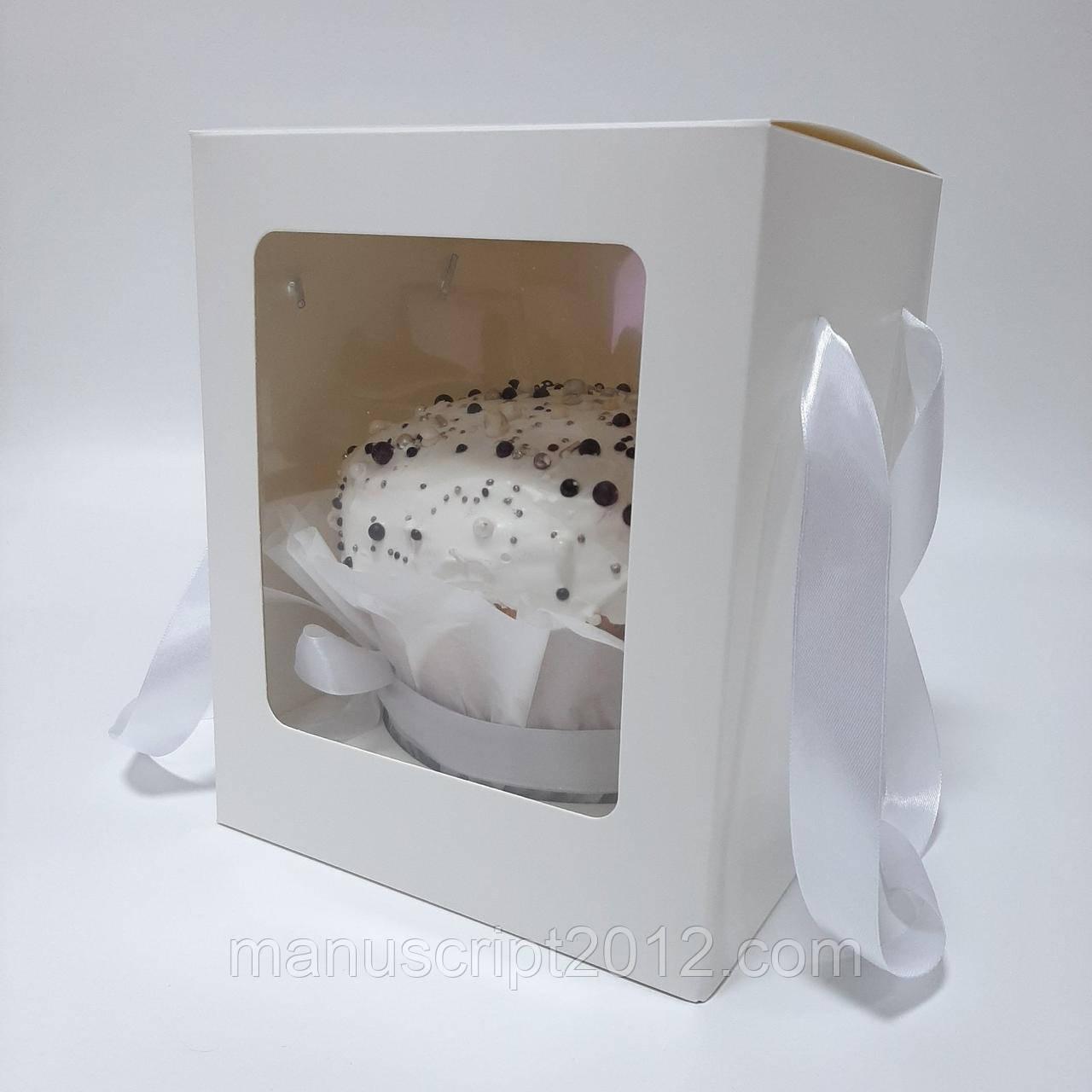 Коробка с ручками для паски, пряничных домов 200х200х250 мм. с окном