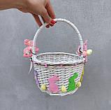 Білий Дитячий пасхальний кошик з зайчиком для дівчаток, фото 3